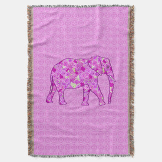 Flower elephant - orchid and magenta throw blanket