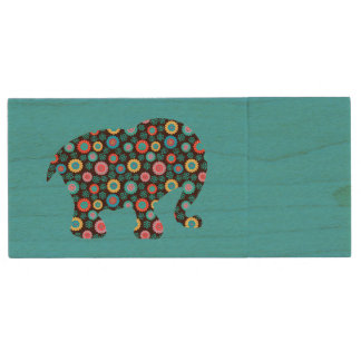 Flower Elephant Wood USB Flash Drive