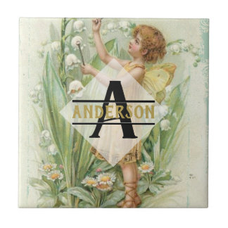 Flower Fairy Snowbells Vintage Art Monogram Named Tile