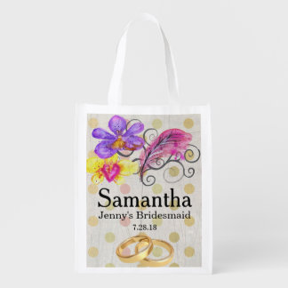 Flower & Feather Bridesmaid Tote Bag Template