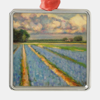 Flower Fields Landscape Triptych Painting 3 of 3 Silver-Colored Square Decoration