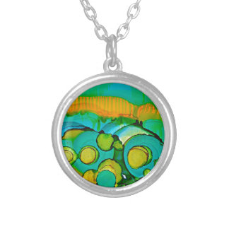 flower fields silver plated necklace