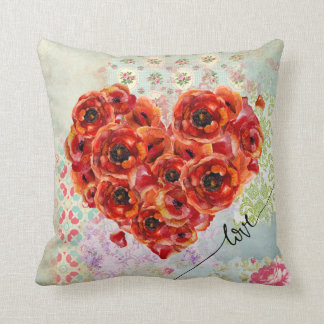 Flower-filled heart & pastel collage background cushion