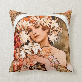 Flower, Fine Art Alphonse Mucha Cushion