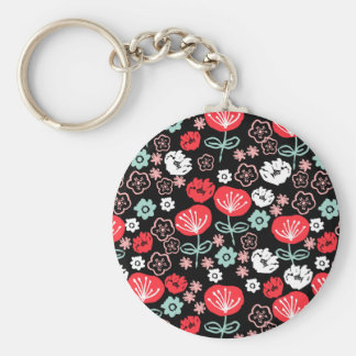 Flower - Floral Black Mint Pink / Andrea Lauren Basic Round Button Key Ring