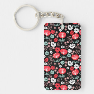 Flower - Floral Black Mint Pink / Andrea Lauren Double-Sided Rectangular Acrylic Key Ring