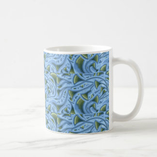 FLOWER FLORAL FUNNEL SHAPES BLUE GREEN SWIRL MUGS