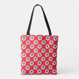 Flower floral print daisies on red pink tote bag