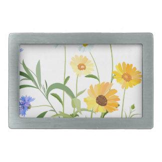 flower flowers of the field rectangular belt buckle