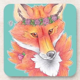Flower Fox Beverage Coasters