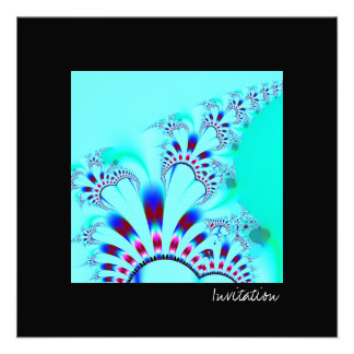 Flower · Fractal Art · Turquoise Personalized Invites