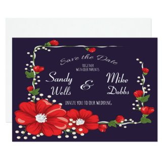 Flower Frame Save the Date Card