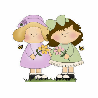 Flower Friends Girls Photo Sculpture Decoration