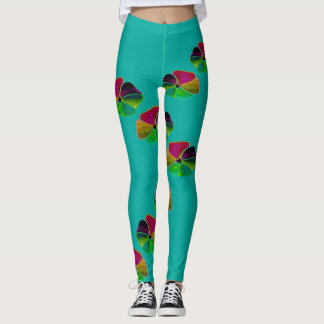 Flower Fun Fashion Leggings-Women-Aqua/Red Leggings