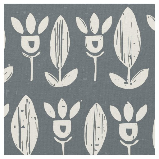 flower garden block ivory pewter fabric