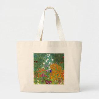 Flower Garden by Gustav Klimt Vintage Floral Canvas Bags