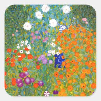 Flower Garden by Gustav Klimt Vintage Floral Square Sticker