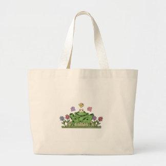 Flower Garden Frog Jumbo Tote Bag