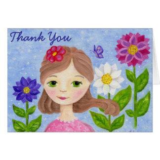 Flower Garden Girl thank you card