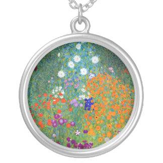 Flower Garden, Gustav Klimt Round Pendant Necklace