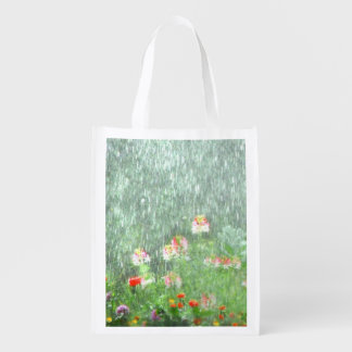 Flower Garden in Rain Reusable Grocery Bag