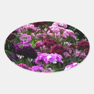 Flower Garden in summer Oval Sticker