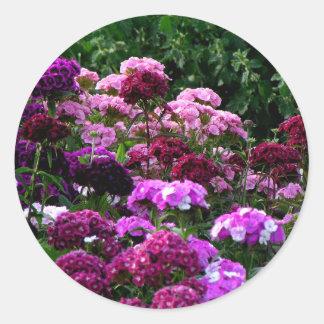 Flower Garden in summer Round Sticker