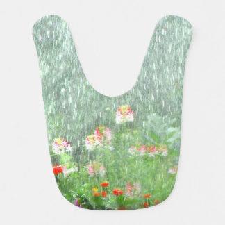 Flower Garden in the Rain Baby Bib