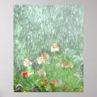 Flower Garden in the Rain Poster