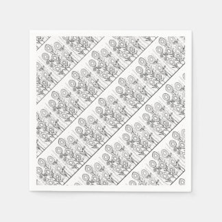 Flower Garden Line Art Design Paper Napkins