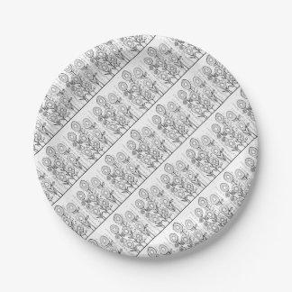Flower Garden Line Art Design Paper Plate