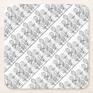 Flower Garden Line Art Design Square Paper Coaster