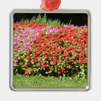 Flower Garden of Pink & Red Flowers Next to Grass Silver-Colored Square Decoration