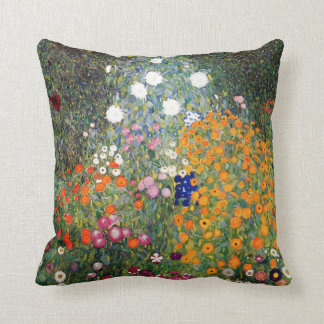Flower garden painting Gustav Klimt Cushion