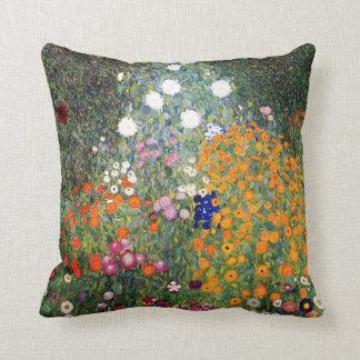 Flower garden painting Gustav Klimt Throw Cushions
