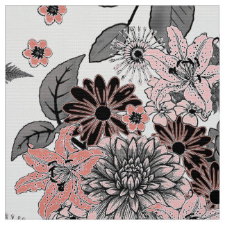Flower Garden Pink and Grey FTDP Fabric