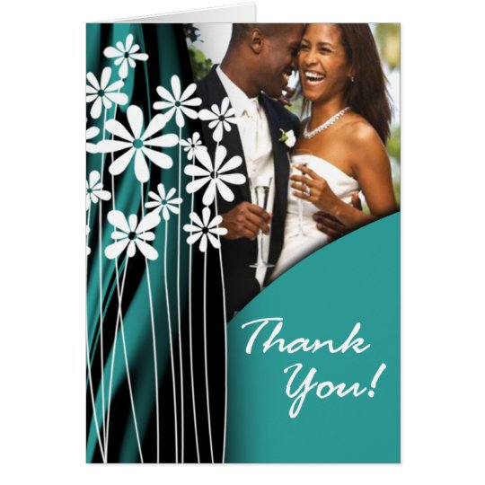 Flower Garden Thank You (dark teal) Card