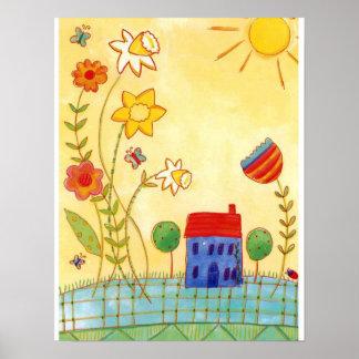 flower garden wall art poster