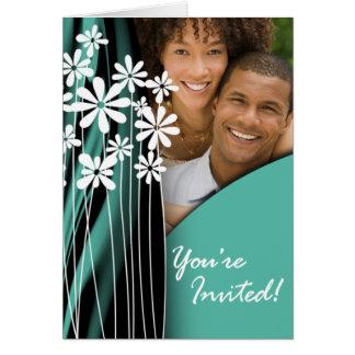 Flower Garden Wedding Photo Invitation (jade)