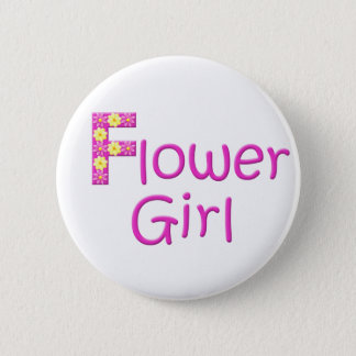 flower girl 6 cm round badge