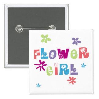 Flower Girl 15 Cm Square Badge