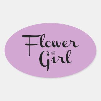 Flower Girl Black on Purple Oval Sticker