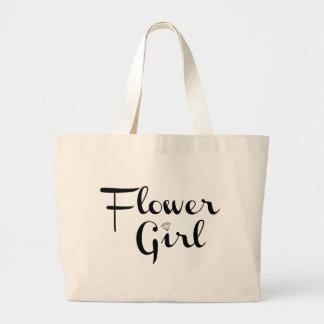 Flower Girl Black on White Tote Bag