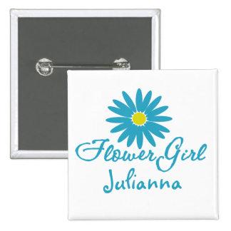 Flower Girl/ Blue Daisy 15 Cm Square Badge
