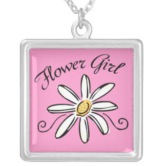 Flower Girl Bridal Party Square Pendant Necklace