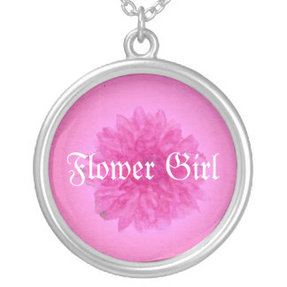 Flower Girl bright modern Pink dahlia Gift Silver Plated Necklace