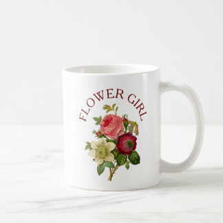Flower Girl Burgundy and Pink Rose Bouquet Mug