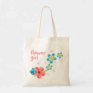 Flower Girl Butterfly Floral Wedding Attendant Budget Tote Bag