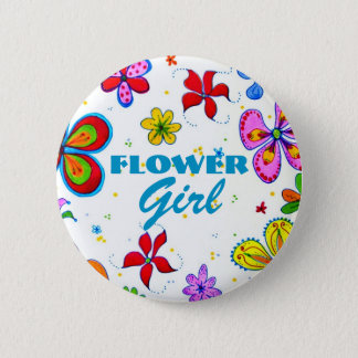 Flower Girl Button/Pin 6 Cm Round Badge