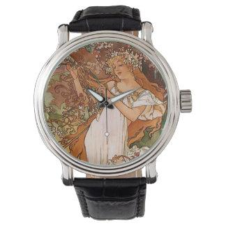 Flower Girl by Alphonse Mucha Wristwatches